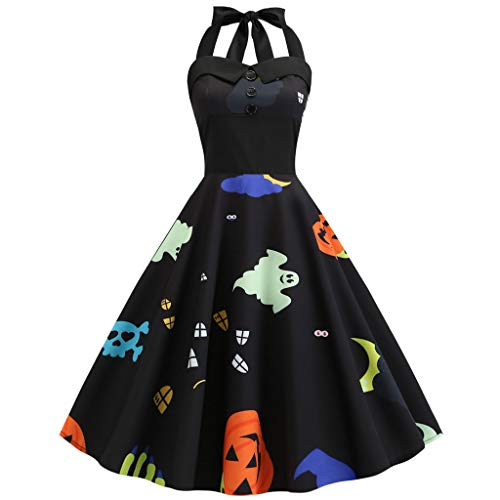 LILIHOT Halloween Abend Party Swing Kleid Damen Vintage Print Halfter Prom Swing Dress Retro Rockabilly Kleider Petticoat Faltenrock Festliche Kleider Frauen Abend Party Cocktail Kleid
