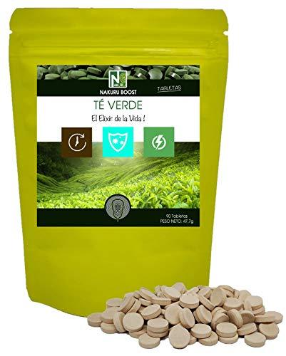 Te verde/NAKURU Boost/Polvo organico secado y comprimido en frio/Analizado y acondicionado en Francia /\El Elixir de la Vida!\ (90 Tabletas de 530mg / Peso Neto: 47,7g / Verde)