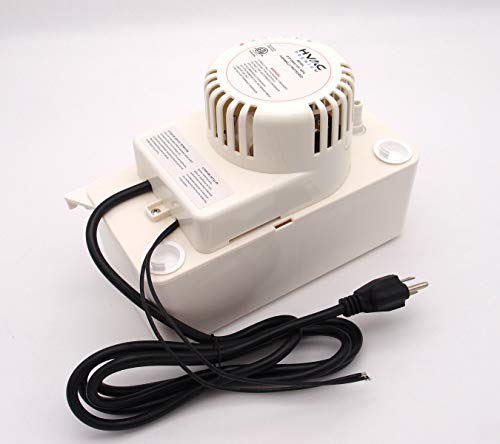 HVAC Premium Condensate Removal Pump – Tank Pump 2.2L with 3/8'x 15' Pipe All in White – Automatic Safety Switch Sensor - 115V/60HZ - White