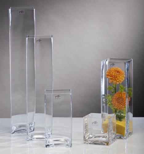 Glasvase Glas Vase Blumenvase Tischvase Bodenvase Quadrat groß 50 cm