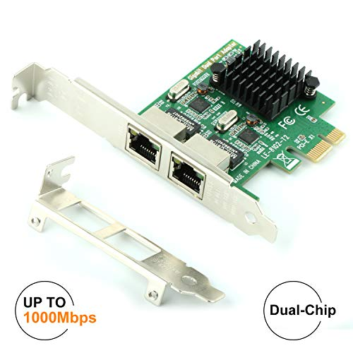 Ubit RJ45 x 2 Gigabit LAN,Gigabit Ethernet PCI Express PCI-E Network Controller Card,10/100/1000mbps,Dual Port PCIE Server Network Interface Card, LAN Adapter Converter for Desktop PC