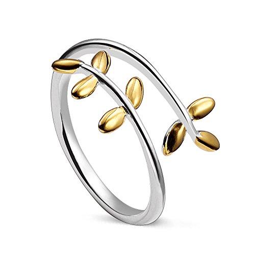 Anello regolabile con corona di alloro in argento Sterling 925, taglia Q per donna, argento, 56 (17.8), colore: Gold, cod. JR50A