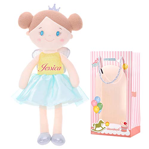 Gloveleya Customized Plüsch Spielzeug gefüllt Puppe Rag Puppen kuschelige Spielzeug für Baby Mädchen Kinder weichen Engel Puppe 40cm - gelb