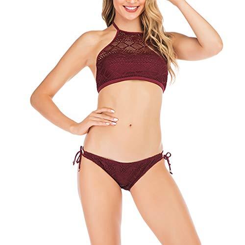 TTLOVE_Damen Bikini-Sets Modische Push Up Bademode Sexy Frauen Weinroter Spitze Badeanzug Split Niedrige Taille Push-Up Bikinioberteil Mit Strandmode Sport Bikinihose (Wein Rot,L)
