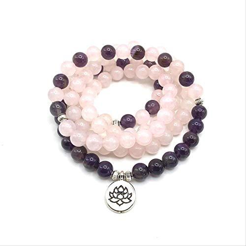 SWAOOS Moda Mujer Regalo Pulsera Cuentas Rosadas con Lotus Om Buddha Charm Yoga Pulsera 108 Mala Collar