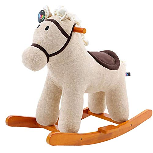 Children Riding Toy, Rocking Horse Children's Music Wooden Rocking Horse Toy Zebra Rocking Horse for 1-3 Year Old Babies