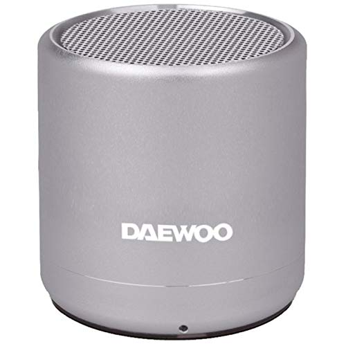 Altavoz Bluetooth Daewoo - Mini Altavoz Bluetooth Potente - Altavoz portatil 5W - Tecnología True Wireless, Acabado Aluminio, Batería 3h, Manos Libres, Radio FM, USB, Miscro SD, Plata