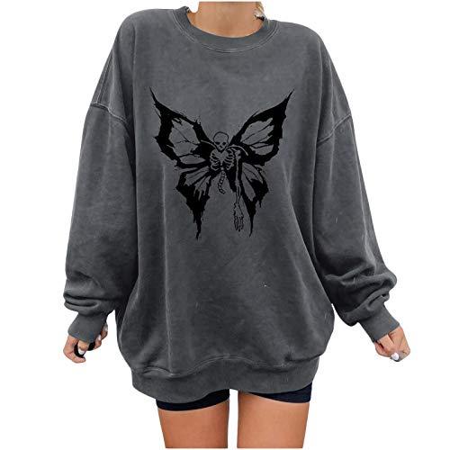 Blusa para Mujer Casual, Mujer 's Butterfly Casual Print Sudadera de Manga Larga Pullover Blusa Tops, Blusa y...