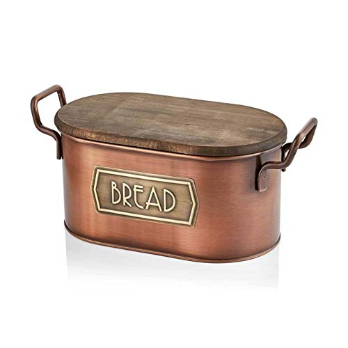Bread Box, With Wood Lid And Cutting Board Storage, Bin Keeper Food Kitchen Container Galvanized (Color : Copper)