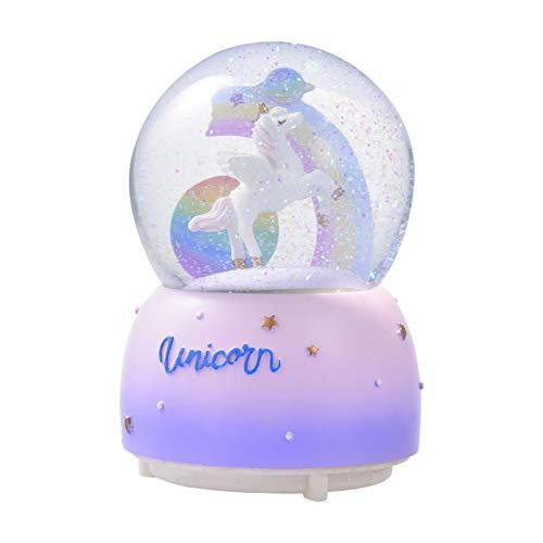CHENSTAR Bola de cristal con forma de globo de nieve, caja musical giratoria, regalo musical de...
