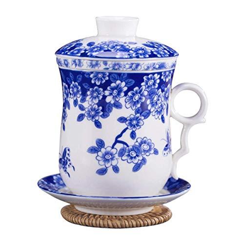 Tcbz Accesorios para Juegos de té, Juego de Tazas de té de Porcelana China Azul y Blanca con Tapa, infusor y platillo para Bodas y Tazas de Oficina para el hogar Regalo para el hogar