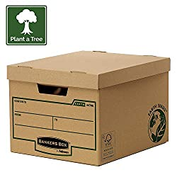 Cardboard Bankers Box Earth Series standard archive storage box is designed to store ring binders and transfer box files and can be stacked up to three units high saving valuable storage space To ensure extra strength, this Bankers box cardboard arch...