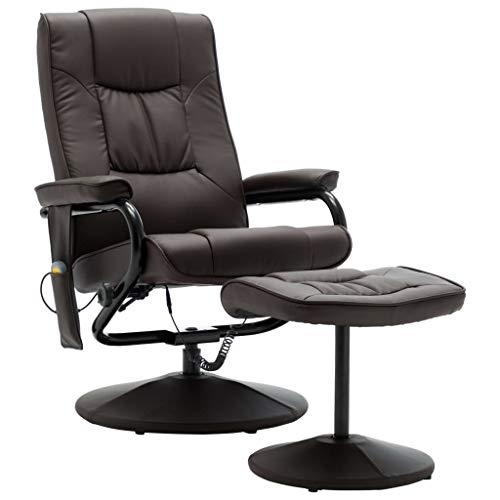 vidaXL Massagesessel mit Fußhocker Heizfunktion Fernsehsessel Relaxsessel Massage TV Sessel Polstersessel Ruhesessel Braun Kunstleder