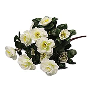 Gokeop 13-Inch Rhododendron Artificial Flower, 7 Heads DIY Fake Flowers for Home Decor Indoor and Wedding, 33cm Retro Style Natural Simulated Flowers for Festivals and Cemetery, White