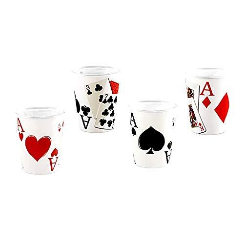 Juego 4 Vasos Chupito Cristal 6Cm. Blancos Temática Poker Baraja Cartas