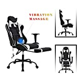 LCH Gaming Chair with Footrest,High Back Racing Office Computer Desk Chair,PU Leather Executive,360°Swivel with Wheels Chair with 90-125 Degree Adjustment Headrest and ErgonomicLumbar Support