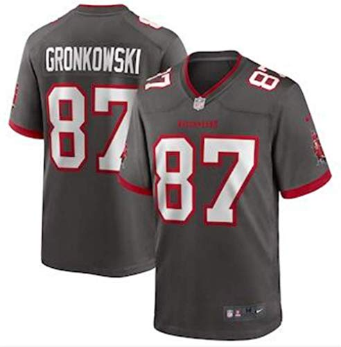 Herren T-Shirt American Football Uniform Tampa Bay Buccaneers Gronkowski #87 Fußballtrikot Gruby Tee Shirts Gr. L, Bild