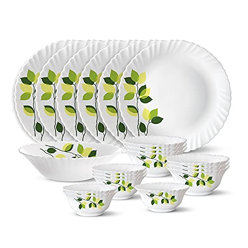 Larah by Borosil Green Leaves Silk Series Opalware Dinner Set, 19 Pieces, White
