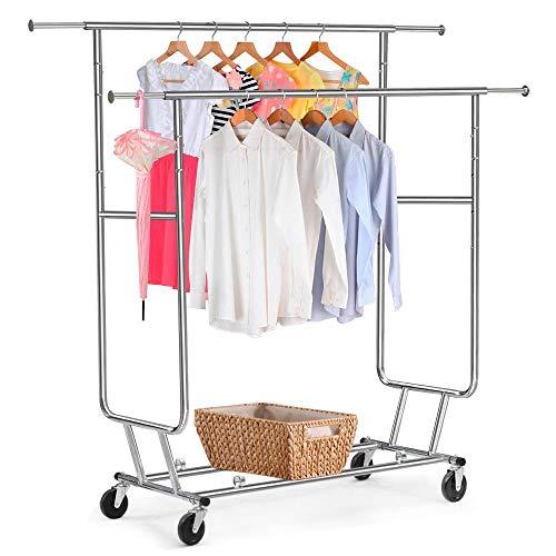 Yaheetech Industrie Kleiderständer auf Rollen bis 130kg ausziehbare Kleiderstangen zusammenklappbar Doppelkleiderständer Höhenverstellbar