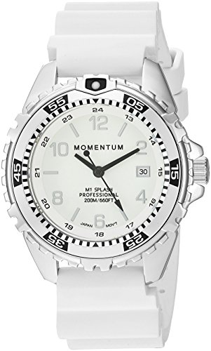 Women's Quartz Watch | M1 Splash by Momentum| Stainless Steel Watches for Women | Dive Watch with Japanese Movement & Analog Display | Water Resistant ladies watch with Date –Lume / Silver Rubber