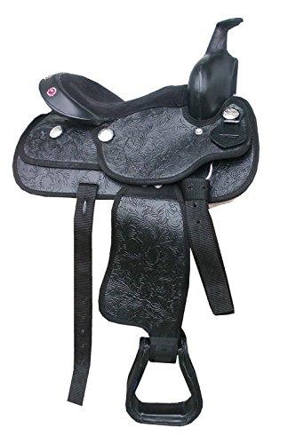 Pony Kinder Westernsattel California mit Glitzersteinen auch für Holzpferde komplettes Set Western Saddle Pony 12 schwarz