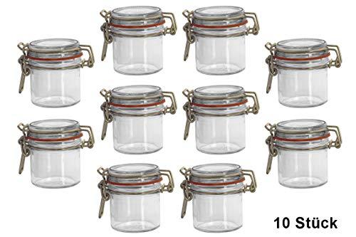10x Bügelglas 125ml weiß inkl. Verschlüsse und Gummiringe, 10 Stück, Einmachglas, Drahtbügelglas