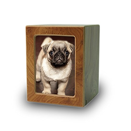Photo Frame Wood Memorial Urn for Cats and Dogs - Extra Small - Holds Up to 25 Cubic Inches of Ashes - Natural Brown Pet Cremation Urn for Ashes - Engraving Sold Separately