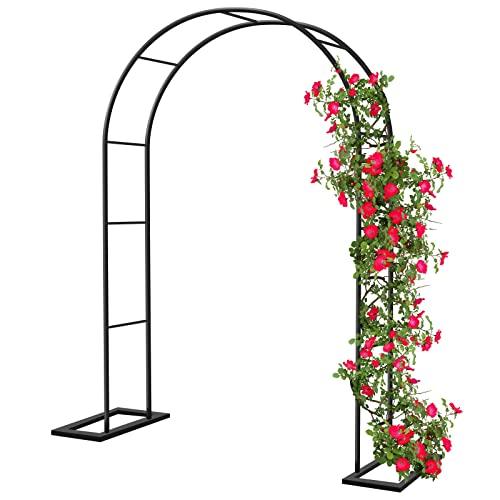 Arco de Jardín de Metal, 140x230cm Arco de Rosas Trepadoras, Metal Garden Arch Enrejado Pérgolas de Jardín para Plantas Trepadoras, Bajo Techo en Exteriores Fiesta de Bodas Decoracion (Negro)