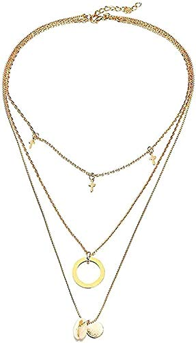 WYDSFWL Collar Bohemio Collar Capas Luna Concha Colgante Collar para Mujer Conchas Marinas Cadena Collar de Concha joyería de Playa Regalo