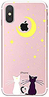 DECO FAIRY Compatible with XR, Cartoon Anime Animated Sailor Moon Black White Cat Couple in Love Series Transparent Translucent Flexible Silicone Cover Case