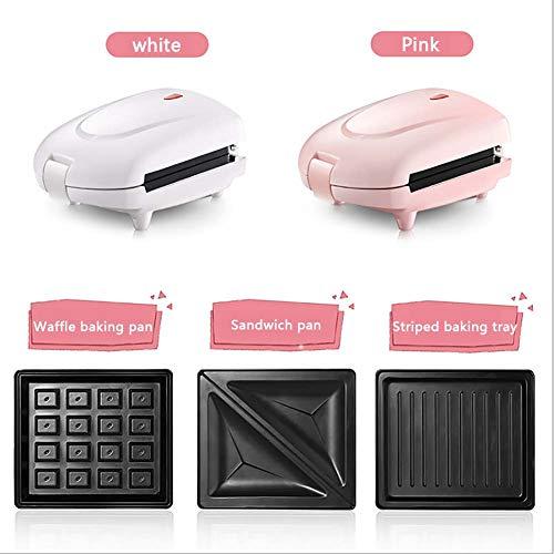 N / A Multifunktions-Frühstücksmaschine Sandwich Maker Home Mini kleine Muffin Waffelmaschine Panini Maker Antihaftbeschichtung Doppelseitige Heizung Abnehmbares Backblech,Rosa