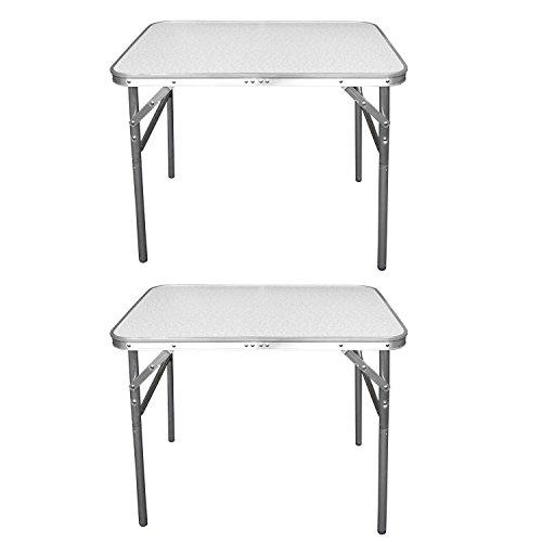 CAMP ACTIVE 2 Stück Aluminium Klapptisch Campingtisch 75x55cm Gartentisch Beistelltisch Falttisch Picknicktisch Alutisch faltbar und höhenverstellbar