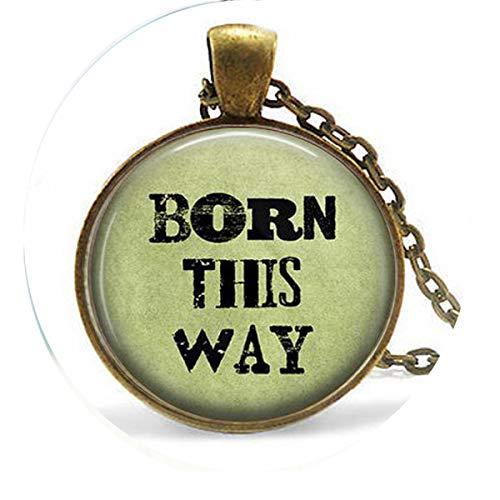 bab Pendientes Born This Way - Rainbow Pride - Gay Pride - Joyería transgénero - Conciencia LGBT - Collar - Colgante de cita bíblica - Religioso