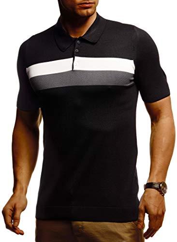 Leif Nelson Herren Sommer T-Shirt Poloshirt Slim Fit aus Feinstrick Cooles Basic Männer Polo Shirts Crew Neck Jungen Kurzarmshirt Polo Shirt Sweater Kurzarm LN7450 Schwarz Large