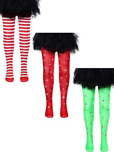 3 Pieces Mid-Rise Leggings Cosplay Costume Tights Christmas Stockings for Girls Christmas Party Favors, 4-8 Years Old (Style 1)