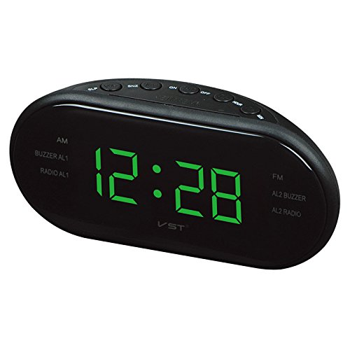 Bureze Reloj Despertador Digital con Radio Am FM y luz de Fondo de la Marca VST ST-3 LED