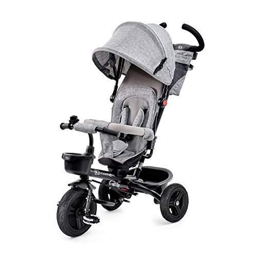Kinderkraft Triciclo AVEO, Bici, Passeggino con Maniglione, Pieghevole, Accessori, per Bambini, 9 Mesi - 5 Anni, Grigio