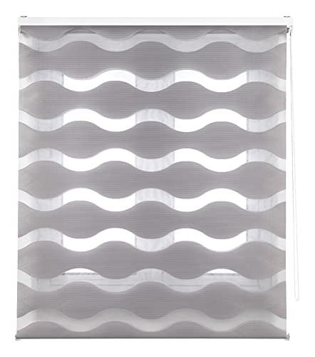 Blindecor Mediterráneo - Estor Enrollable de Doble Capa, Noche y Día, Poliéster, Gris Plata, 80 x 180 cm