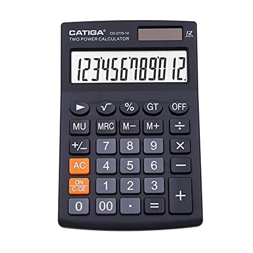 CATIGA calcolatrice da tavolo con 12 cifre screen display lcd, casa o l ufficio, facile da usare con chiare funzioni di visualizzazione memoria, cd-2775 (nero)