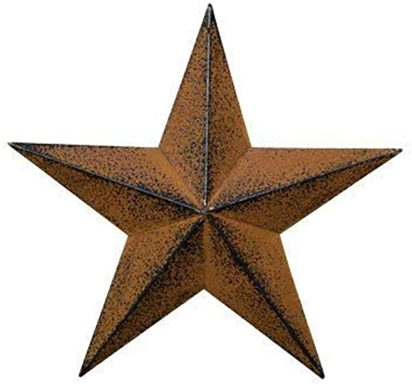 ACCENTHOME Rust With Black Barn Star Steel Metal Antique Barn Star Rustic Country Primitive Wall D Cor 24