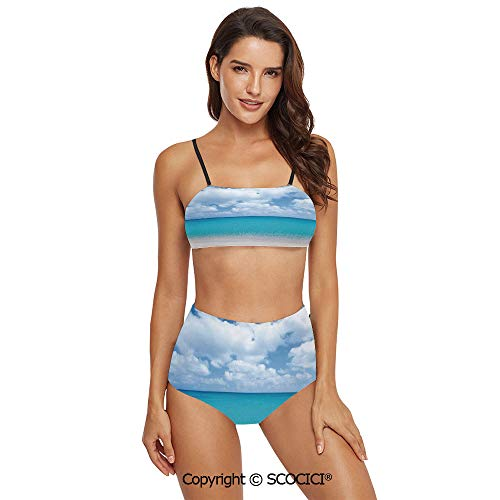 SCOCICI Bikini Swimsuit Swimwear Solitude Peaceful Beach Scene with Blue Ocean