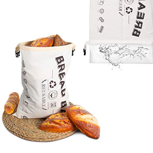 Suncanri Bread Bag, Waterproof Bread Bags for Homemade Bread, Bread Storage Bag, Reusable Washable Freezer Bread Bag With Waterproof Membrane for Bakers Bread Storage 43X32 CM