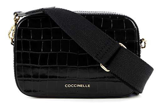 Coccinelle Tebe Croco Umhängetasche schwarz