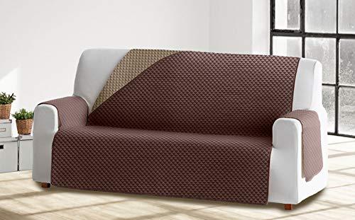 Cabetex Home - Cubre sofá Reversible Bicolor con ajustes - Microfibra Acolchada Antimanchas (Beige/Chocolate, 1 Plaza)