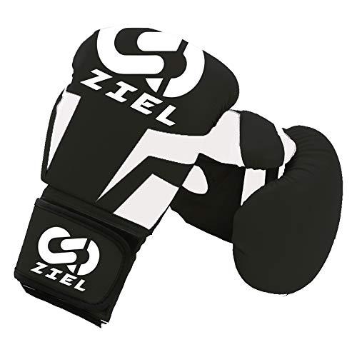 【ZIEL】ボクシンググローブ PUレザー パンチンググローブ 通気性 キックボクシング トレーニンググローブ 格闘技グローブ サンドバッグ 空手 ミット 男女兼用 8オンス 10オンス 12オンス (ブラック, 10oz)