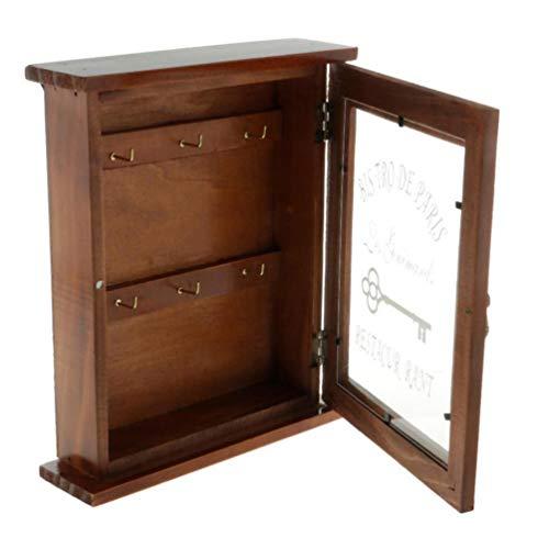 VOSAREA Caja para llaves de pared de madera rústica con bandeja para cartas, caja de almacenamiento de pared, caja de madera retro para la entrada del hogar (marrón)