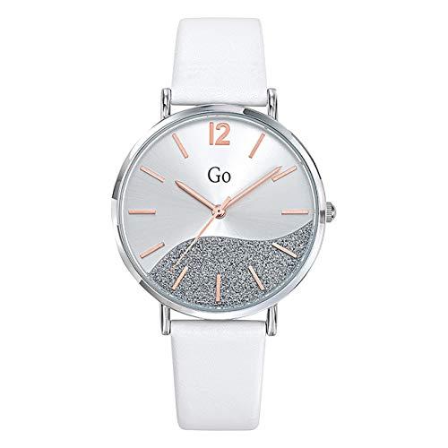 Girl Only Reloj de pulsera analógico para mujer blanco 699326 GO con correa de piel UGO699326
