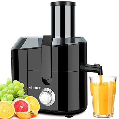 Entsafter für Gemüse und Obst 800W Zentrifugaler 75mm große Einfüllöffnung 2L Fruchtfleischbehälter& 1.5L Saftbehältezwei Juicer Geschwindigkeitsstufen Überhitzungsschutz und Überlastschutz
