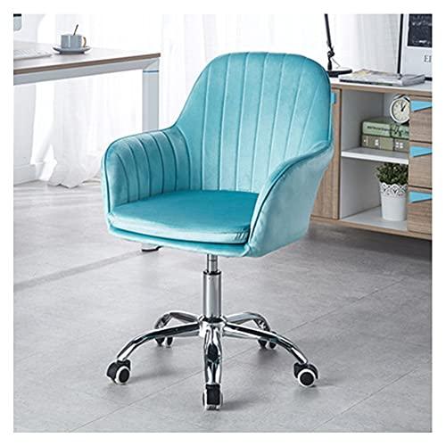 VIVIANSHOP Silla de ordenador Faule con reposabrazos, ascensor, silla de oficina, silla de conferencias, hogar, dormitorio, silla de estudio, color azul claro