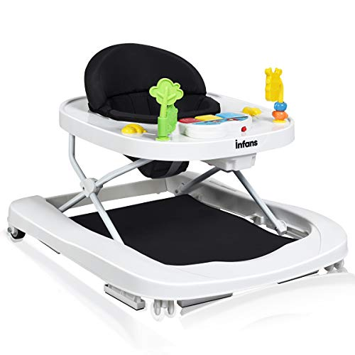 INFANS Foldable Baby Walker, 3 in 1 Toddler Walker Bouncer, Learning-Seated, Walk-Behind, Music, Adjustable Height, High Back Padded Seat, Detachable Trampoline Mat, Activity Walker with Toys, Black